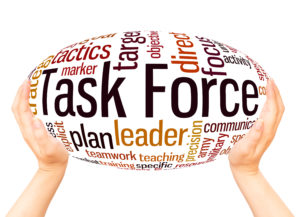 Task Force word cloud hand sphere concept on white background.